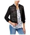 Bcx Womens Lace Front Bomber Jacket