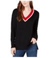 maison Jules Womens Contrast Trim Pullover Sweater blackcombo XXS