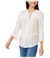 Bcx Womens Lace Inset Button Up Shirt