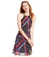 Material Girl Womens Printed Illusion A-Line Dress
