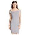 Material Girl Womens Portrait-Neck Striped Bodycon Dress