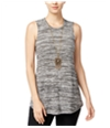 Bcx Womens Space-Dye With Necklace Tank Top
