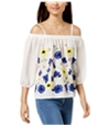 Bcx Womens Embroidered Off The Shoulder Blouse
