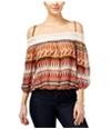 Bcx Womens Sheer Cold-Shoulder Pullover Blouse