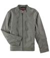 Alfani Mens Faux-Leather Slim Bomber Jacket
