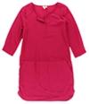 Maison Jules Womens Split Neck Shift Dress