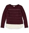 Maison Jules Womens Cutout Layered Look Embellished T-Shirt