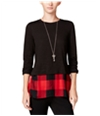 Maison Jules Womens Layered Look Embellished T-Shirt