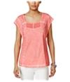 Style & Co. Womens Lace Eyelet Basic T-Shirt