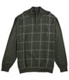 Tasso Elba Mens Refined Grid Quarter-Zip Pullover Sweater