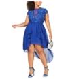 City Studio Womens Illusion Neckline High-Low Dress