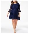 City Studio Womens Lace Fit & Flare Dress