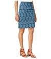 Maison Jules Womens Printed Denim Pencil Skirt