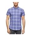 Calvin Klein Mens Ss Windowpane Button Up Shirt