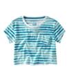 Aeropostale Womens Stripe Cropped Pocket Graphic T-Shirt