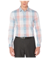 Perry Ellis Mens Space Dyed Plaid Button Up Shirt