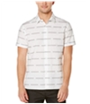 Perry Ellis Mens Broke Stripe Button Up Shirt