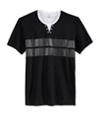 I-N-C Mens Gillman Stripe Split Neck Graphic T-Shirt