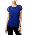 I-N-C Womens Embroidered Mesh Embellished T-Shirt