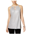 I-N-C Womens Metallic Keyhole Halter Top Shirt