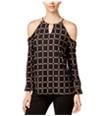 I-N-C Womens Ring Pattern Cold Shoulder Halter Blouse Top
