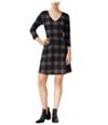 Maison Jules Womens Windowpane Fit & Flare A-Line Dress