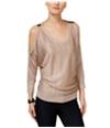 I-N-C Womens Metallic Cold-Shoulder Knit Sweater