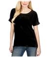 Lucky Brand Womens Velvet Contrast Embellished T-Shirt