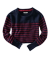 Aeropostale Womens Long Sleeve Opposite Stripe Knit Sweater navyniblue XS