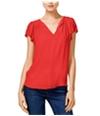 Maison Jules Womens Flutter-Sleeve Pullover Blouse