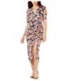 Leyden Womens Ruched Midi Dress
