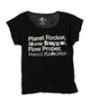 Ecko Unltd. Womens Lyric Open Neck Graphic T-Shirt