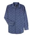 Bar Iii Mens Denim Floral Button Up Dress Shirt