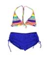 Hobie Womens Striped Ruched Side Tie 2 Piece Bikini