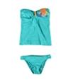 Hobie Womens Glitter Tropical Side Tab 2 Piece Bandeau