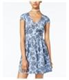 Bee Darlin Womens Printed Illusion Fit & Flare Dress