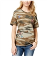 Carbon Copy Womens Patched Embellished T-Shirt