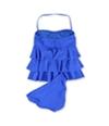 Island Escape Womens Tiered Shaper Pant 2 Piece Bandeau blue 8