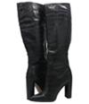 Pretty Little Things Womens Croc Block Heel Knee High Boots black 6