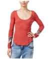 Free People Womens Bandana Cuff Thermal Embellished T-Shirt