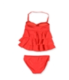 Island Escape Womens Tiered Pant 2 Piece Bandeau coral 6