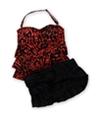 Island Escape Womens Print Tier Ruffled Skirt 2 Piece Bandeau coralblack 8