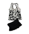 Island Escape Womens Floral U-Wire Skirt 2 Piece Tankini blkwhite 8