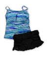 Island Escape Womens High Neck Ruffled 2 Piece Tankini blueblack 12