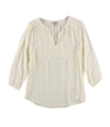 Lucky Brand Womens Embroidered Knit Blouse