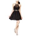 Bee Darlin Womens Cutout Illusion Fit & Flare Dress