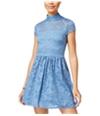Bee Darlin Womens Mock-Neck Lace Fit & Flare Dress