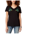 Carbon Copy Womens Embroidered Snakes Basic T-Shirt