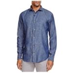 Eleventy Mens Fleck Denim Button Up Dress Shirt