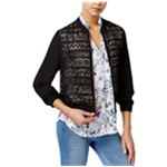 BCX Womens Lace Front Bomber Jacket
